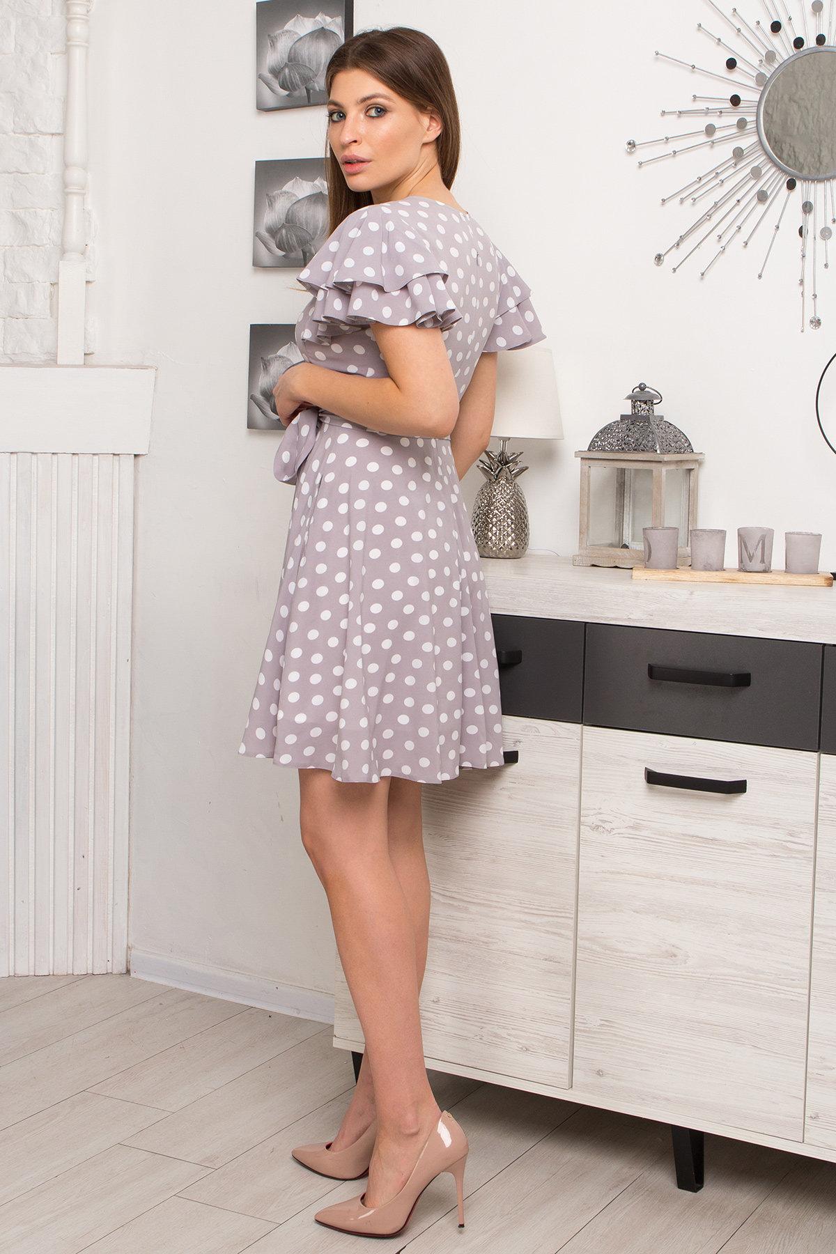 Платье Милея 9072 АРТ. 45397 Цвет: Серый/молоко горох - фото 5, интернет магазин tm-modus.ru