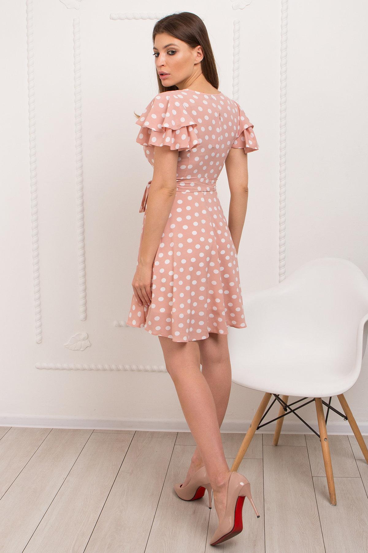 Платье Милея 9072 АРТ. 45396 Цвет: Пудра/молоко горох - фото 3, интернет магазин tm-modus.ru