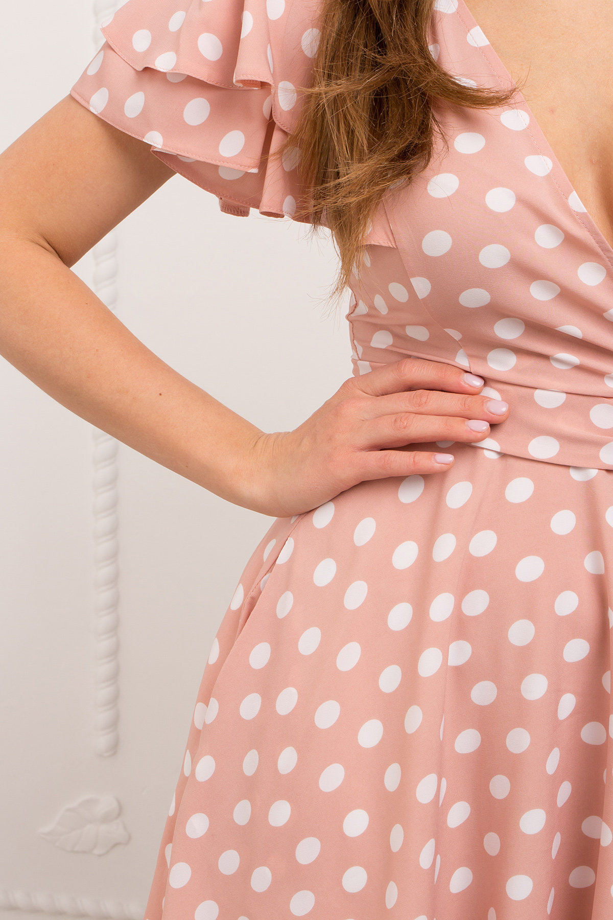 Платье Милея 9072 АРТ. 45396 Цвет: Пудра/молоко горох - фото 4, интернет магазин tm-modus.ru