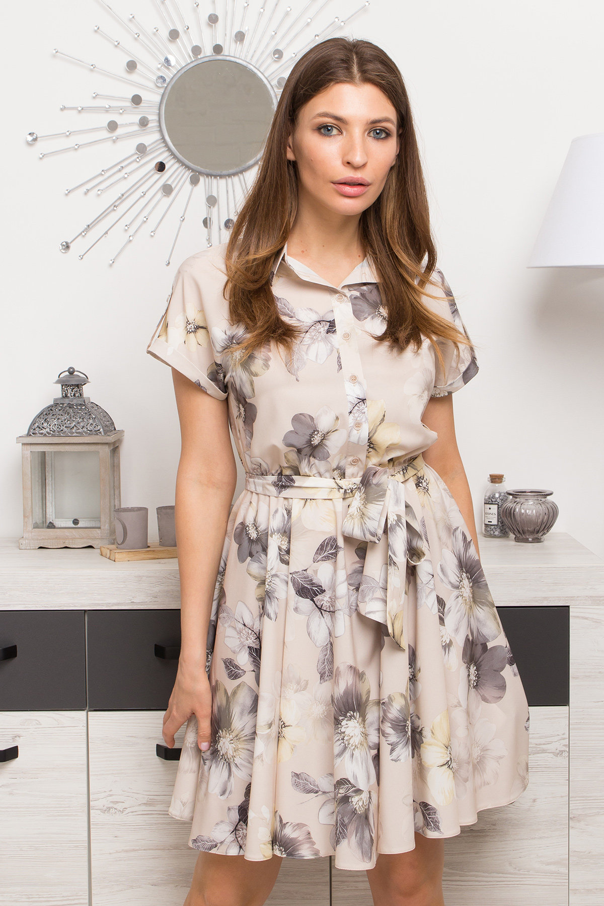 Платье Санжар 9095 АРТ. 45416 Цвет: Цветы кр беж/мол/охра - фото 3, интернет магазин tm-modus.ru