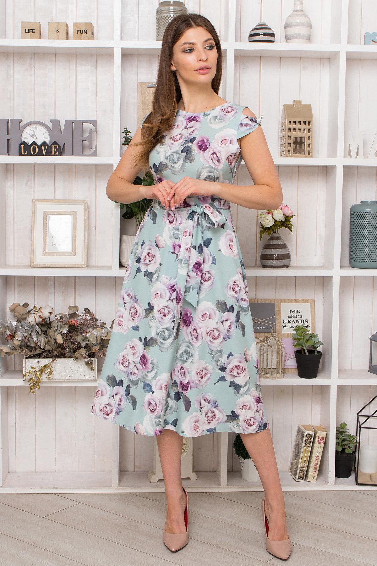 Платье Жане 9097 Цвет: Розы мята/розовый/молоко
