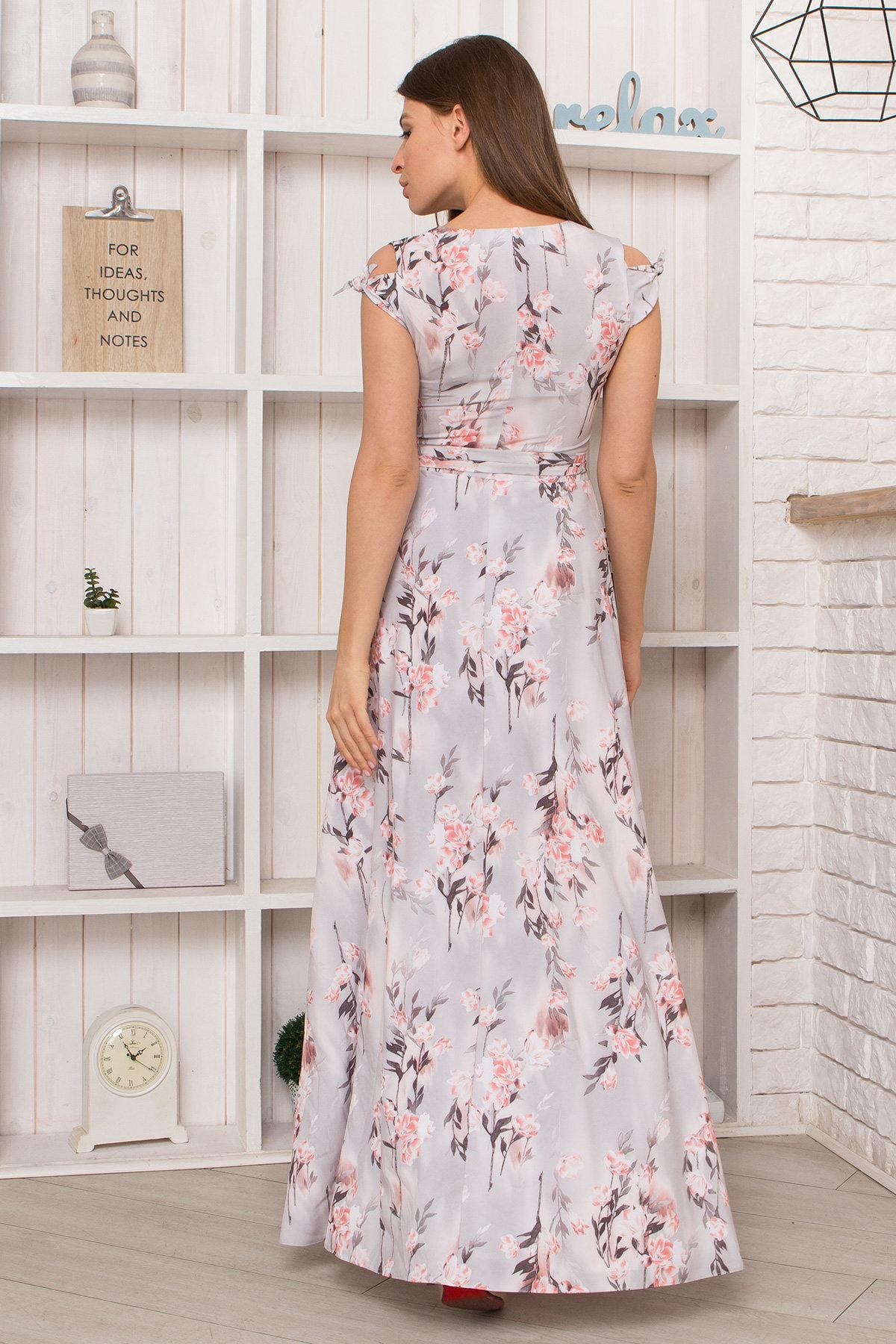 Платье Жане 9099 Цвет: Цветы на ветке серый/пудра