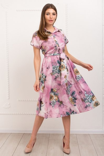 Платье Санжар 9090 Цвет: цветы комби роз/мол/охра