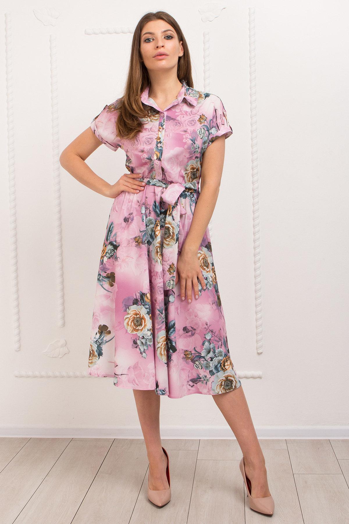 Платье Санжар 9090 АРТ. 45412 Цвет: цветы комби роз/мол/охра - фото 2, интернет магазин tm-modus.ru