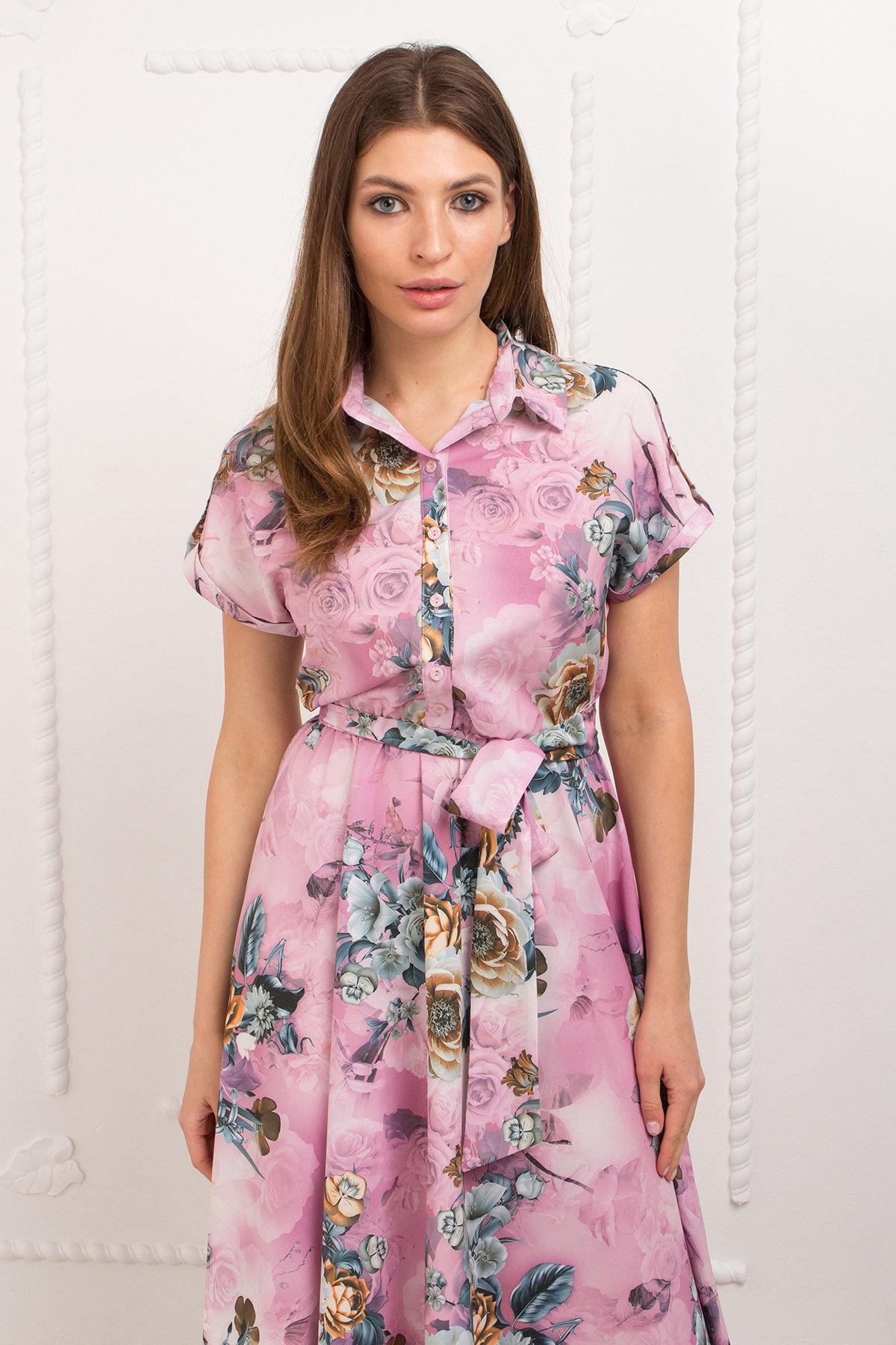Платье Санжар 9090 АРТ. 45412 Цвет: цветы комби роз/мол/охра - фото 3, интернет магазин tm-modus.ru