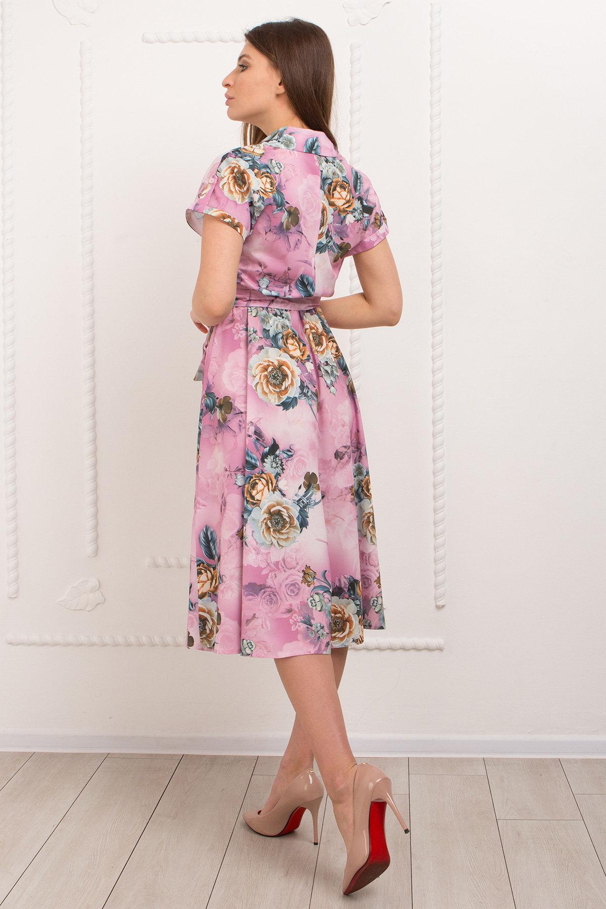 Платье Санжар 9090 АРТ. 45412 Цвет: цветы комби роз/мол/охра - фото 4, интернет магазин tm-modus.ru