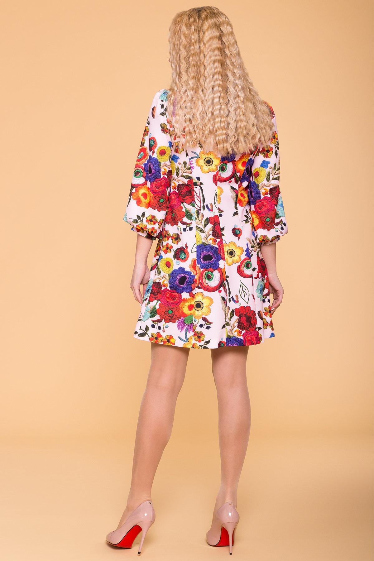 Платье Клеопатра 6662 АРТ. 41834 Цвет: цветы комби молоко/ темная пудра - фото 2, интернет магазин tm-modus.ru