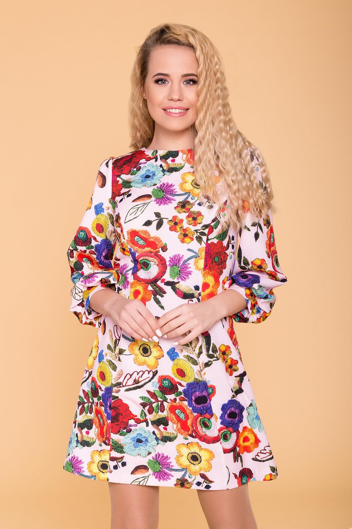 Платье Клеопатра 6662 АРТ. 41834 Цвет: цветы комби молоко/ темная пудра - фото 3, интернет магазин tm-modus.ru