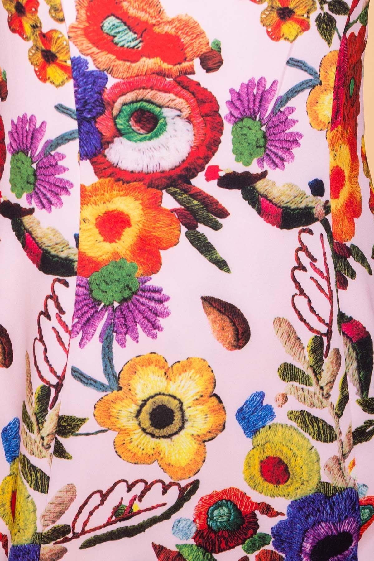 Платье Клеопатра 6662 АРТ. 41834 Цвет: цветы комби молоко/ темная пудра - фото 4, интернет магазин tm-modus.ru