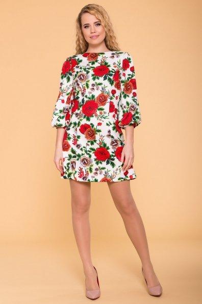 Платье Клеопатра 6662 Цвет: цветы комби розовый светлый/ молоко