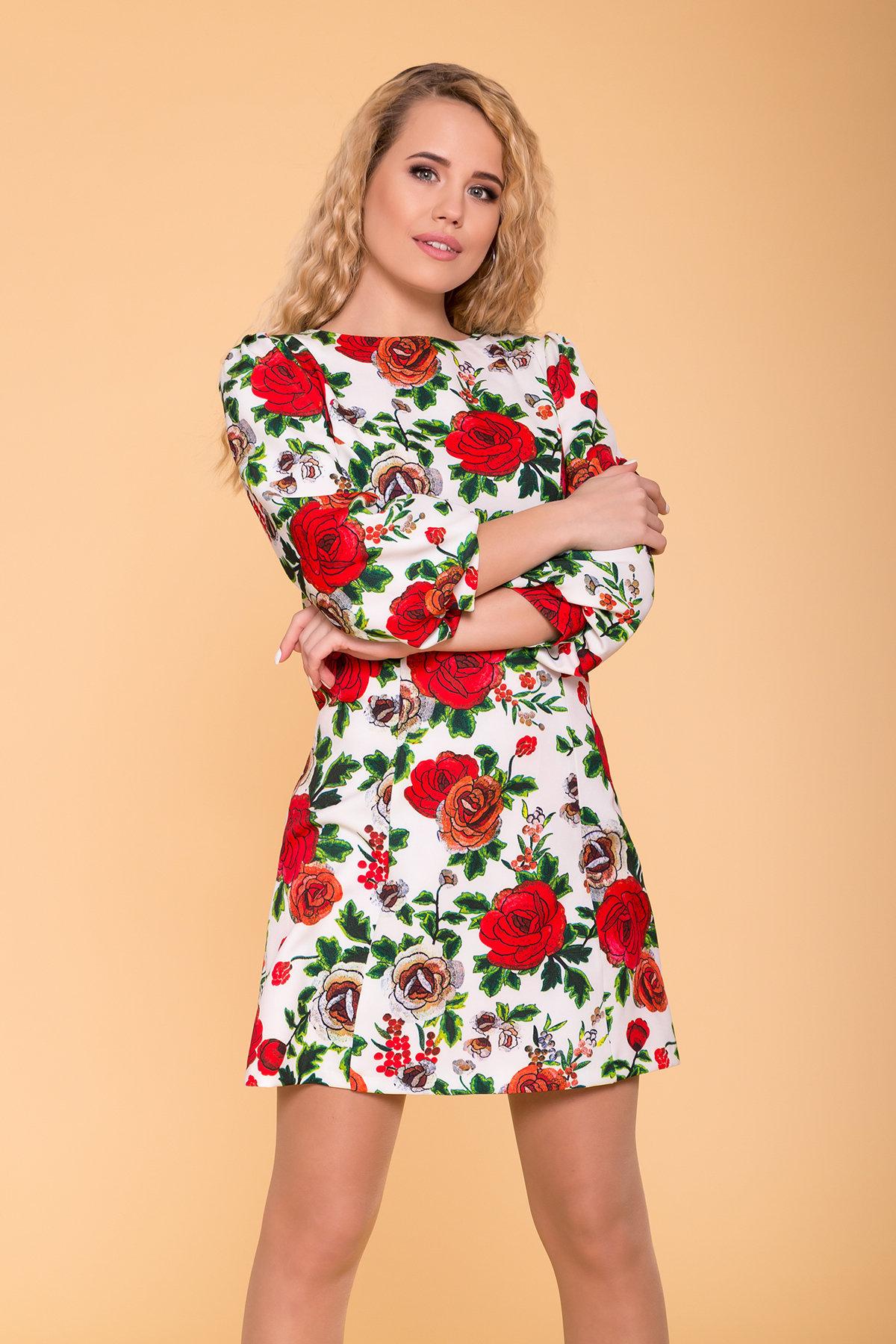 Платье Клеопатра 6662 АРТ. 41833 Цвет: цветы комби розовый светлый/ молоко - фото 3, интернет магазин tm-modus.ru
