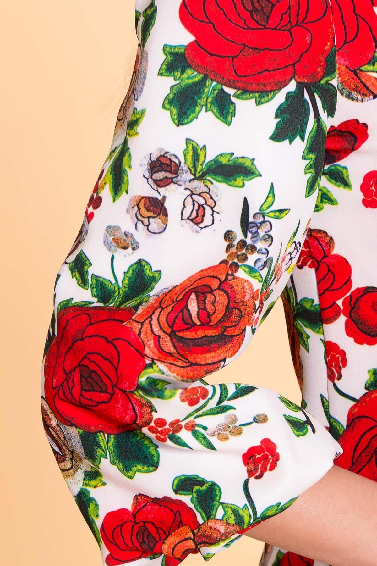 Платье Клеопатра 6662 АРТ. 41833 Цвет: цветы комби розовый светлый/ молоко - фото 4, интернет магазин tm-modus.ru