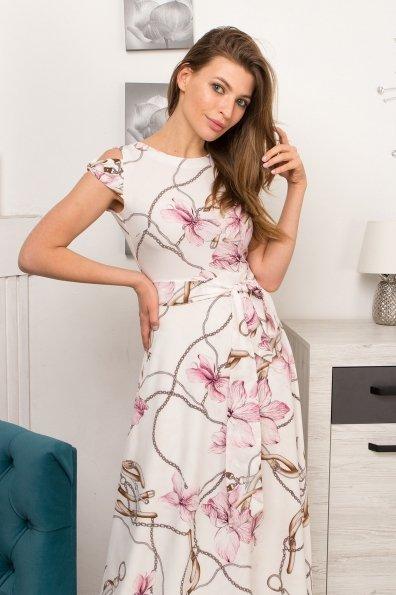 Платье Жане 9099 Цвет: Цветы кр/цепи Молоко/пудра