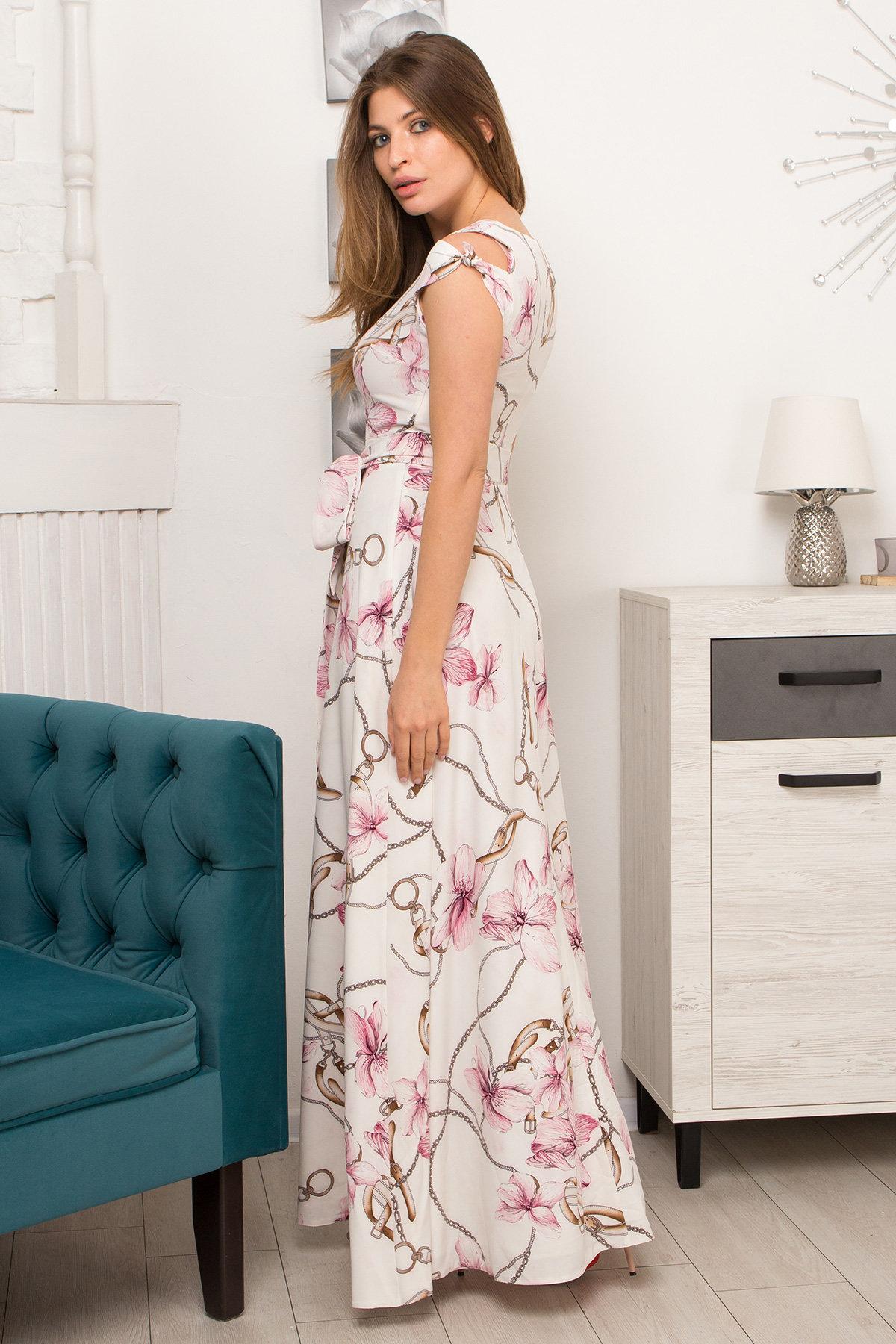 Платье Жане 9099 АРТ. 45420 Цвет: Цветы кр/цепи Молоко/пудра - фото 4, интернет магазин tm-modus.ru