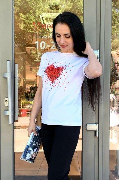 Купить Сердце принт вискоза однотонная стрейч хлопок футболка 9216 оптом и в розницу