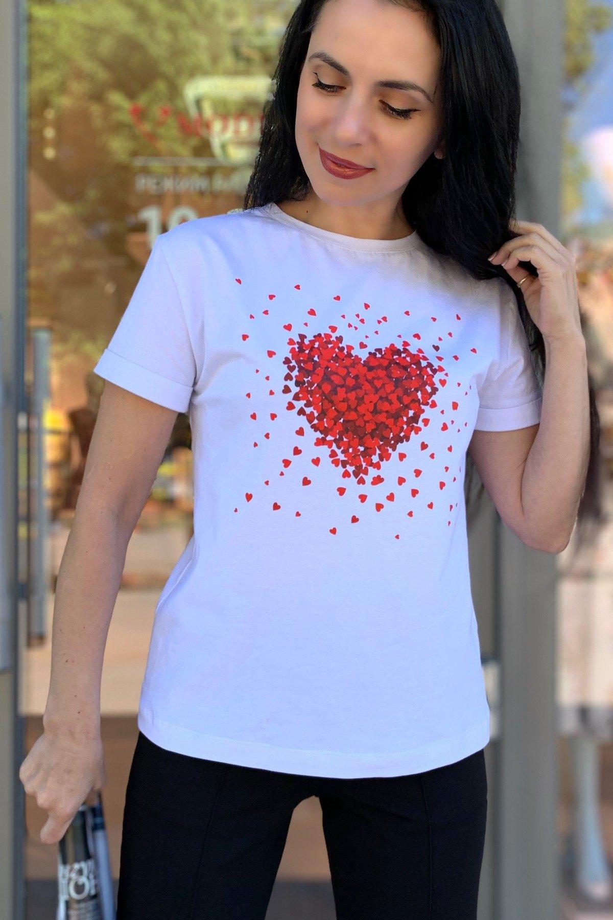Футболка Сердце 9216 АРТ. 45557 Цвет: Белый - фото 4, интернет магазин tm-modus.ru