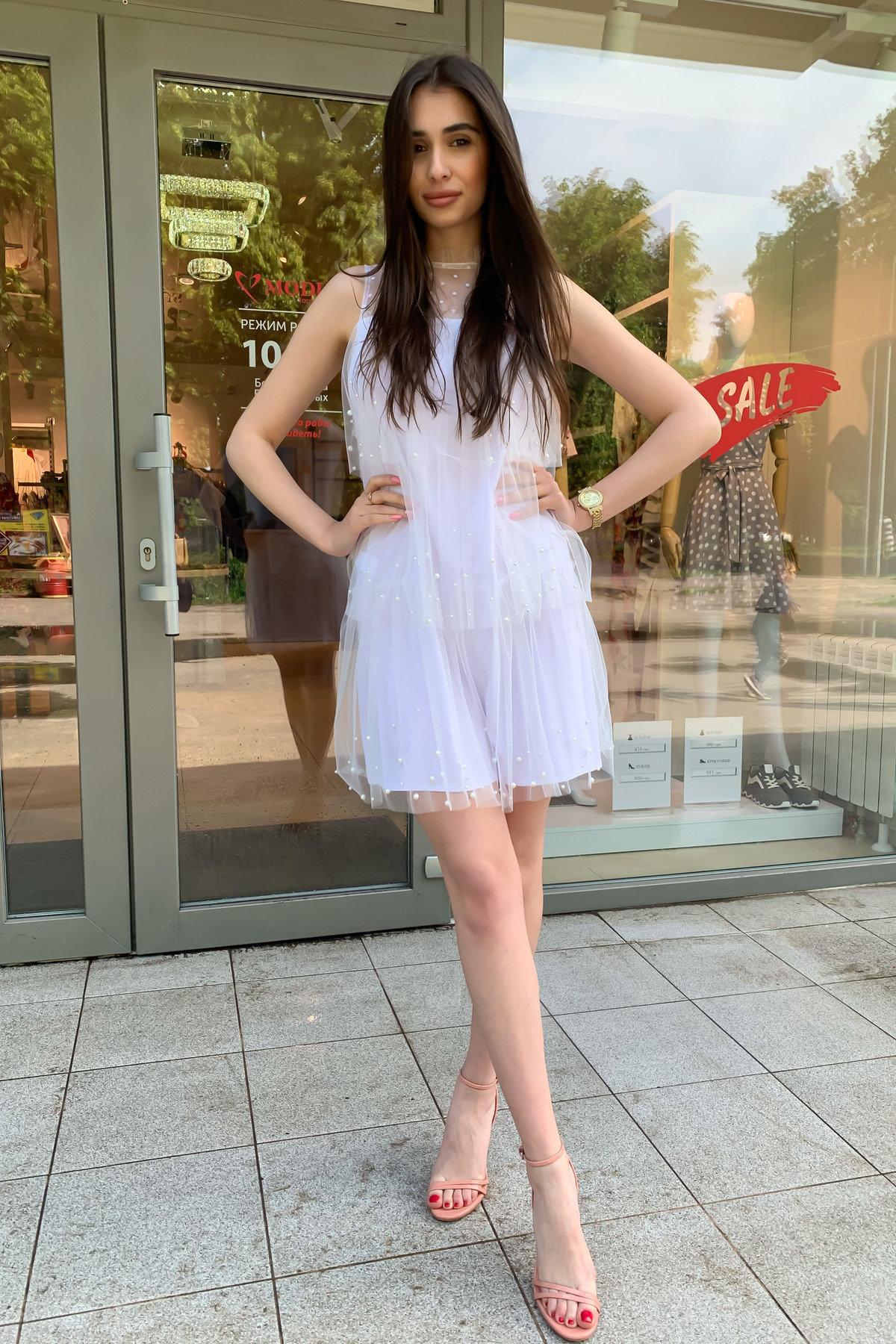 Платье Софт 9103 АРТ. 45423 Цвет: Белый - фото 3, интернет магазин tm-modus.ru
