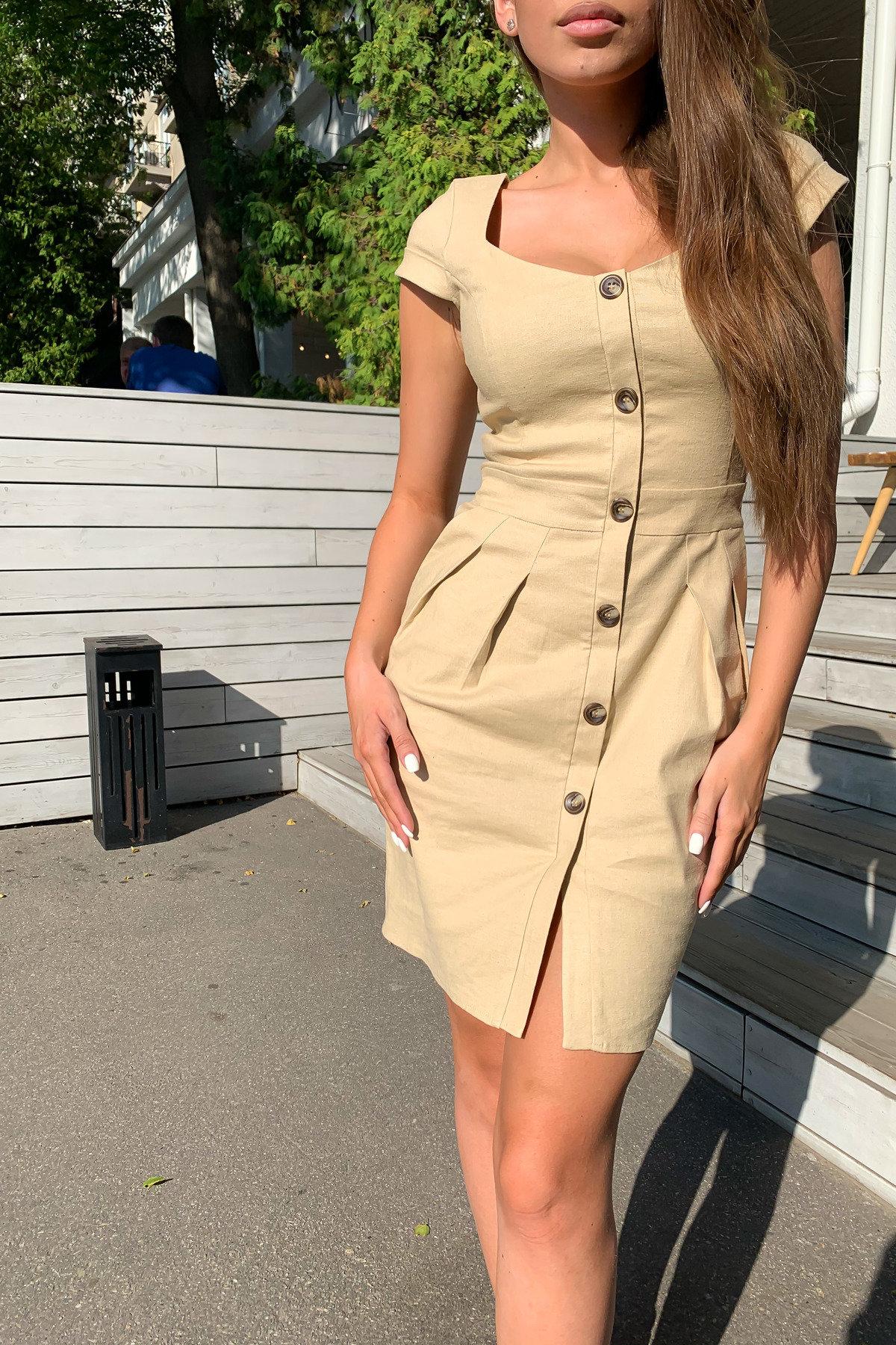 Марсель платье мини из льна  стрейч 9400 АРТ. 45754 Цвет: Бежевый - фото 3, интернет магазин tm-modus.ru