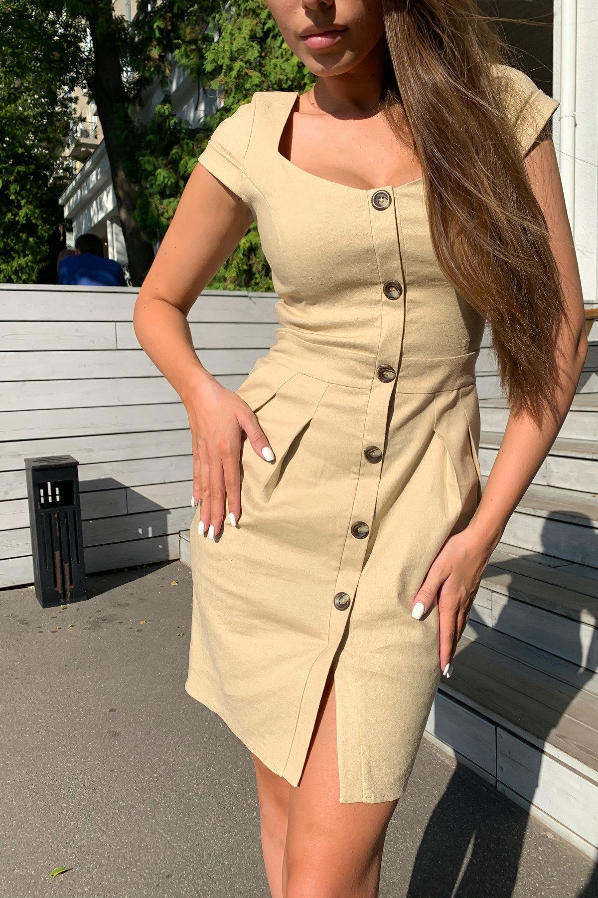 Марсель платье мини из льна  стрейч 9400 АРТ. 45754 Цвет: Бежевый - фото 5, интернет магазин tm-modus.ru