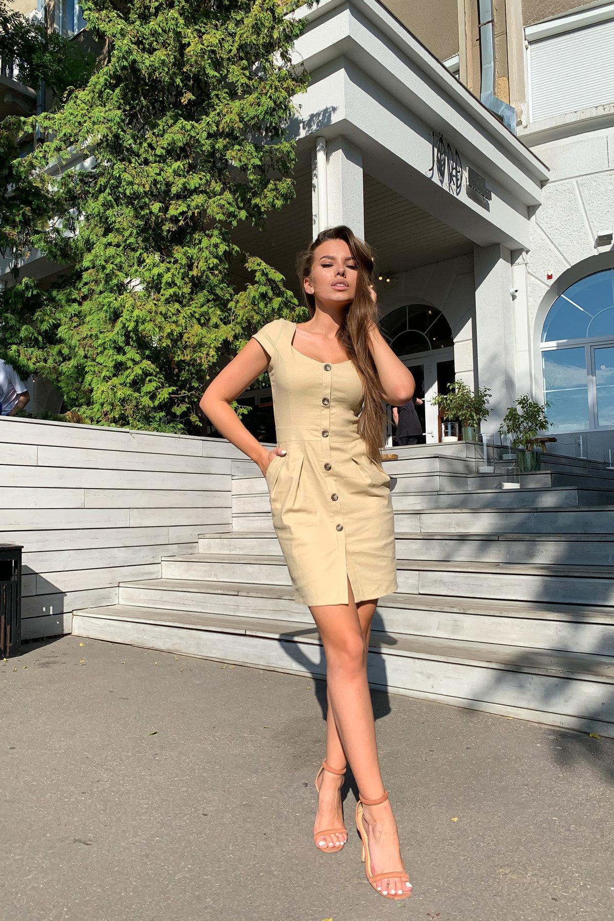 Марсель платье мини из льна  стрейч 9400 АРТ. 45754 Цвет: Бежевый - фото 7, интернет магазин tm-modus.ru