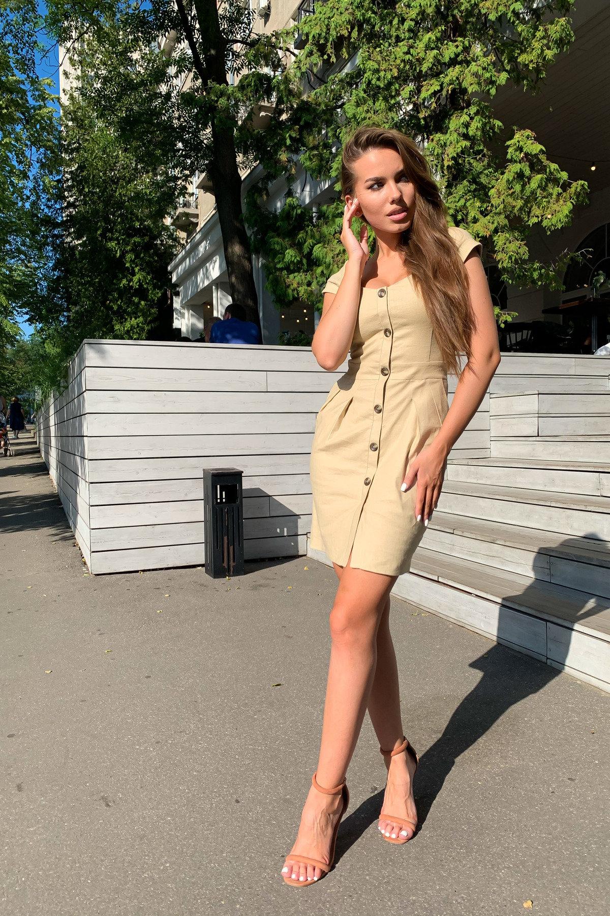 Марсель платье мини из льна  стрейч 9400 АРТ. 45754 Цвет: Бежевый - фото 11, интернет магазин tm-modus.ru