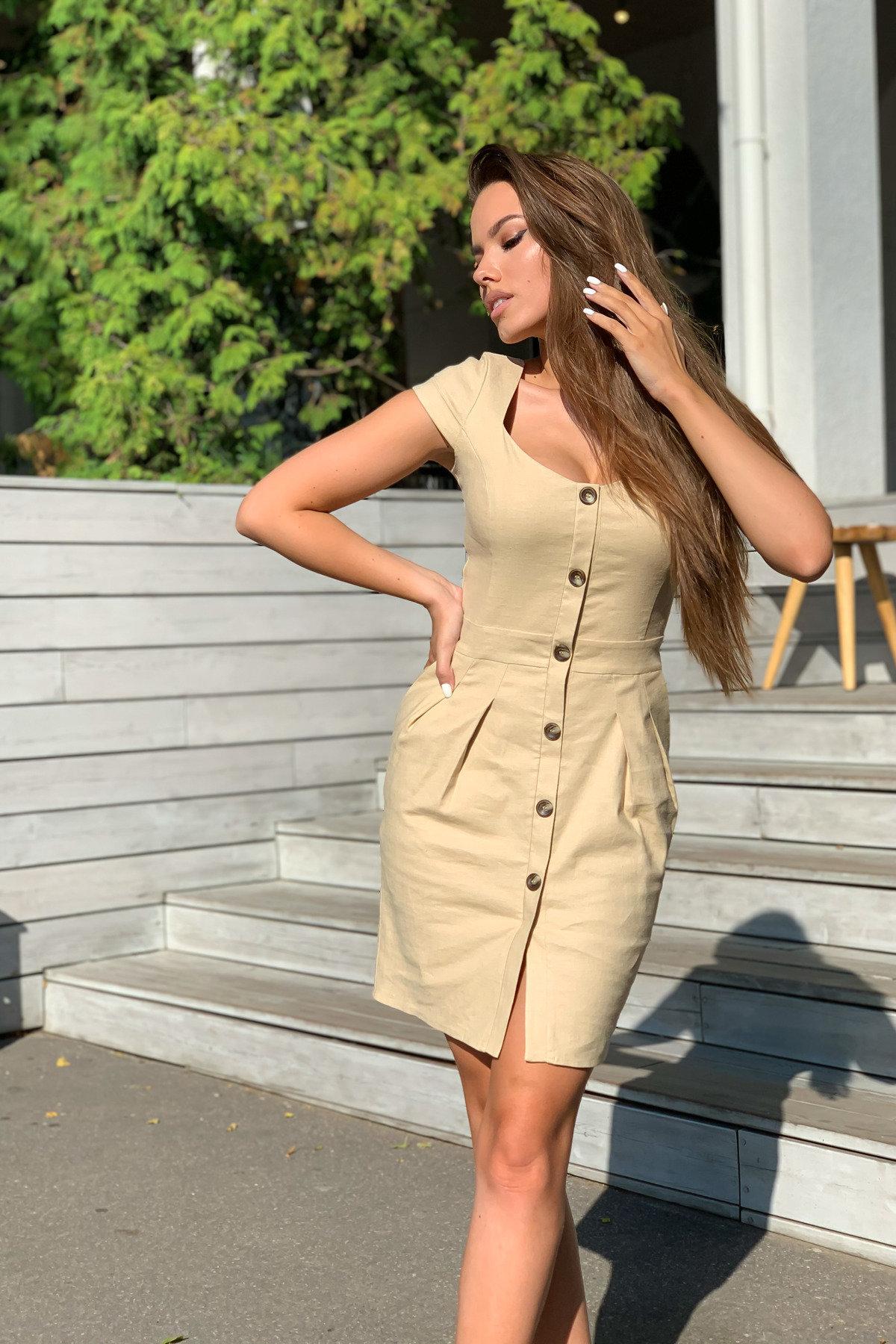 Марсель платье мини из льна  стрейч 9400 АРТ. 45754 Цвет: Бежевый - фото 13, интернет магазин tm-modus.ru