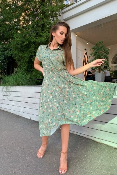 Платье Санжар 9090 Цвет: Цв. на вет Олив/корал/беж