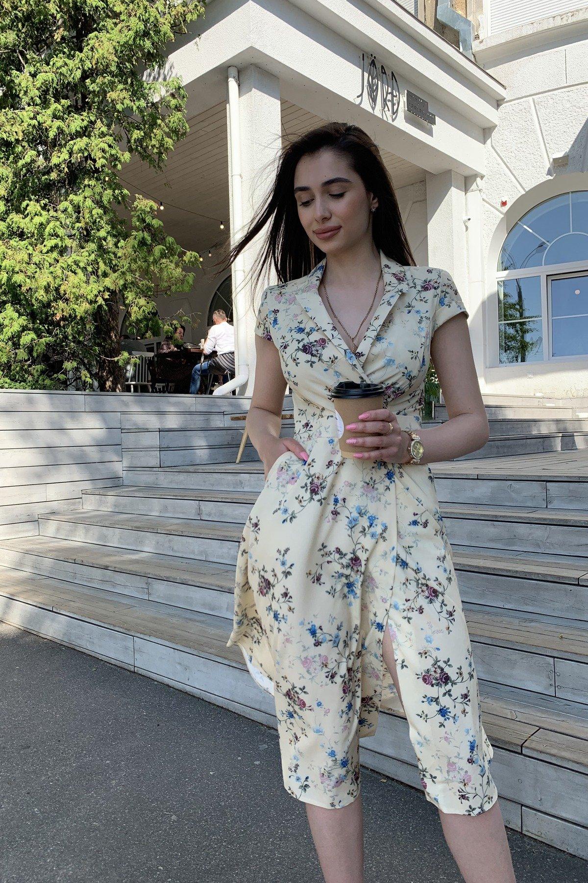 Платье Малья 9088 АРТ. 45704 Цвет: Цветы комби св.беж/голуб - фото 1, интернет магазин tm-modus.ru