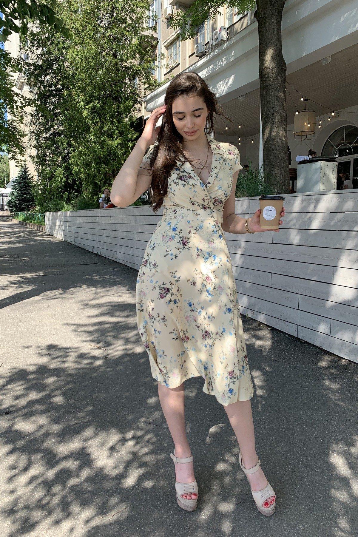 Платье Малья 9088 АРТ. 45704 Цвет: Цветы комби св.беж/голуб - фото 2, интернет магазин tm-modus.ru