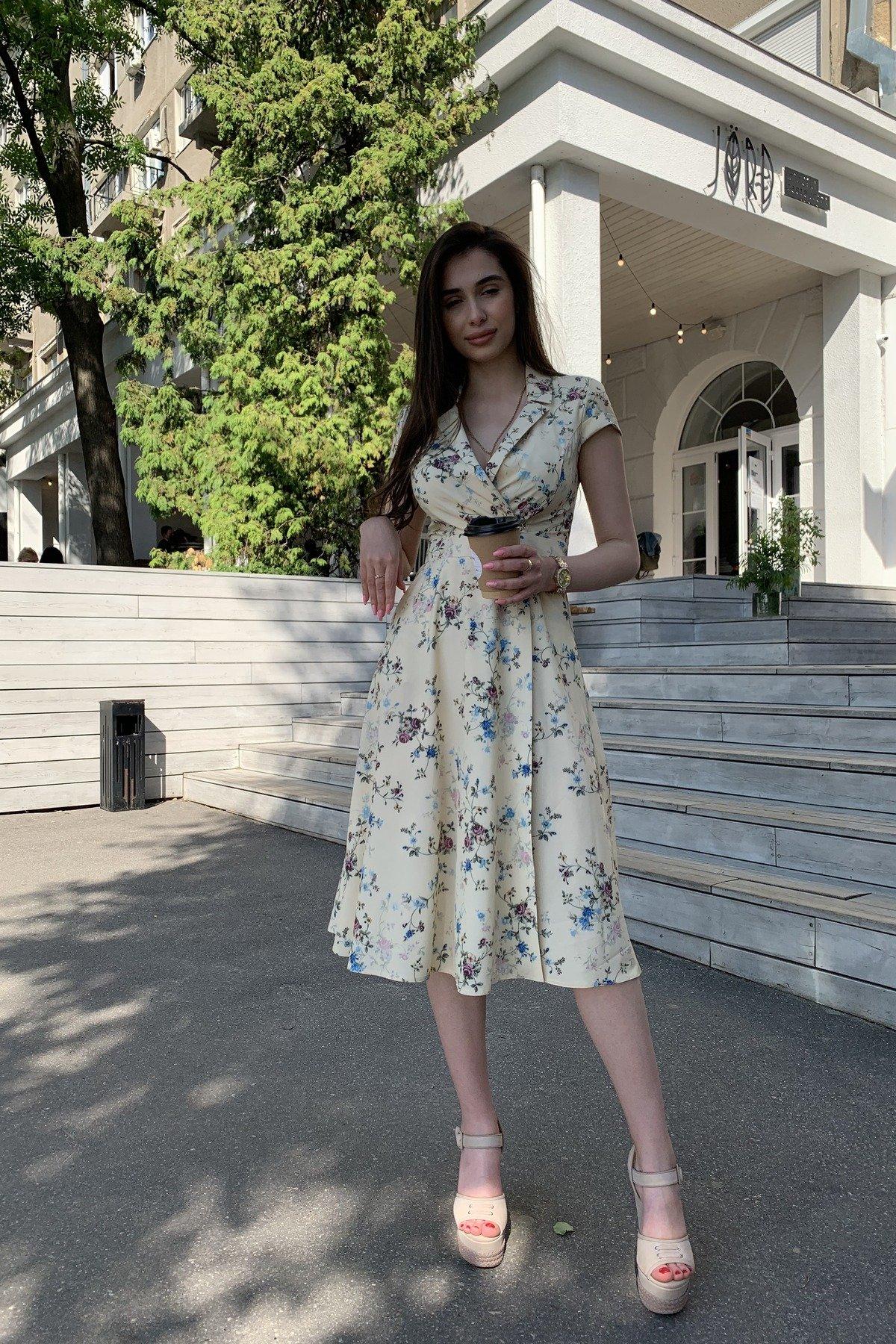 Платье Малья 9088 АРТ. 45704 Цвет: Цветы комби св.беж/голуб - фото 4, интернет магазин tm-modus.ru