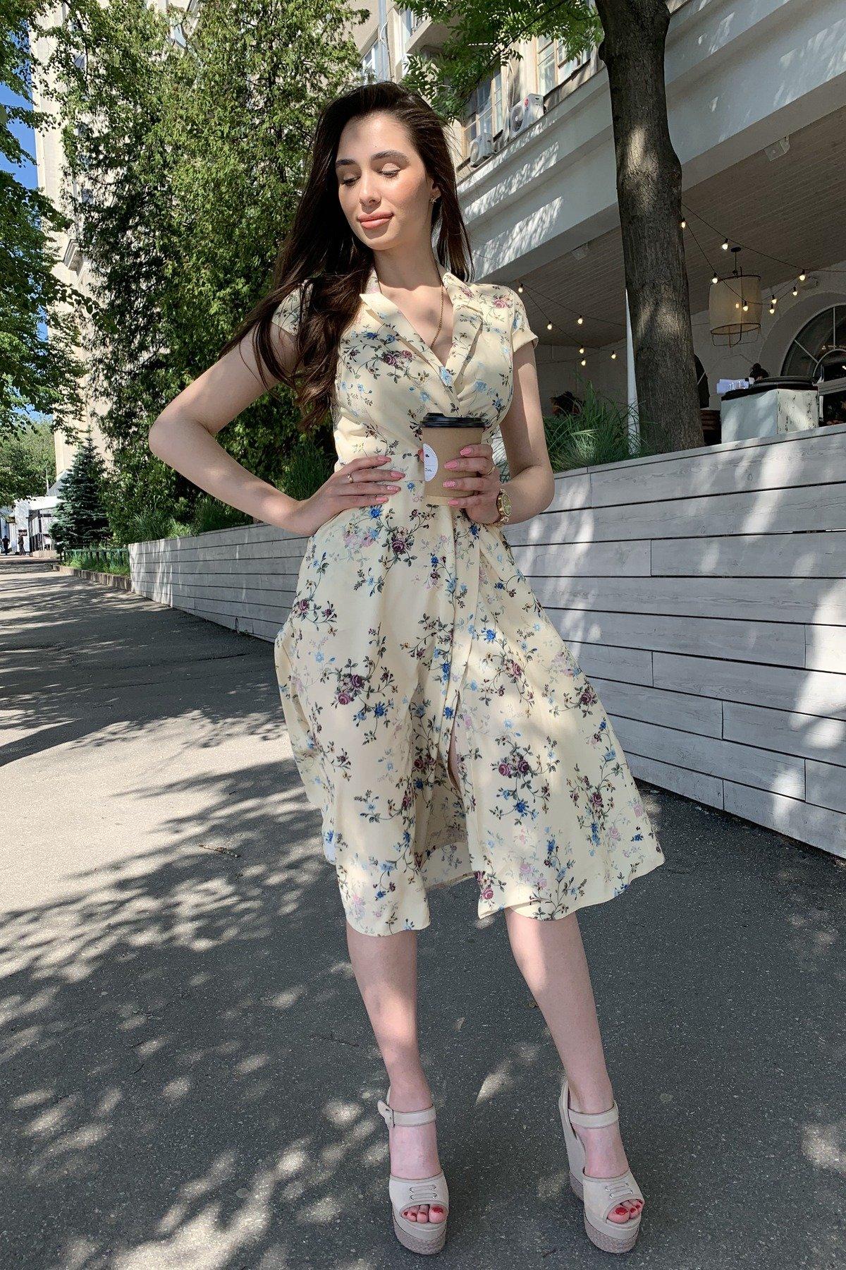 Платье Малья 9088 АРТ. 45704 Цвет: Цветы комби св.беж/голуб - фото 5, интернет магазин tm-modus.ru