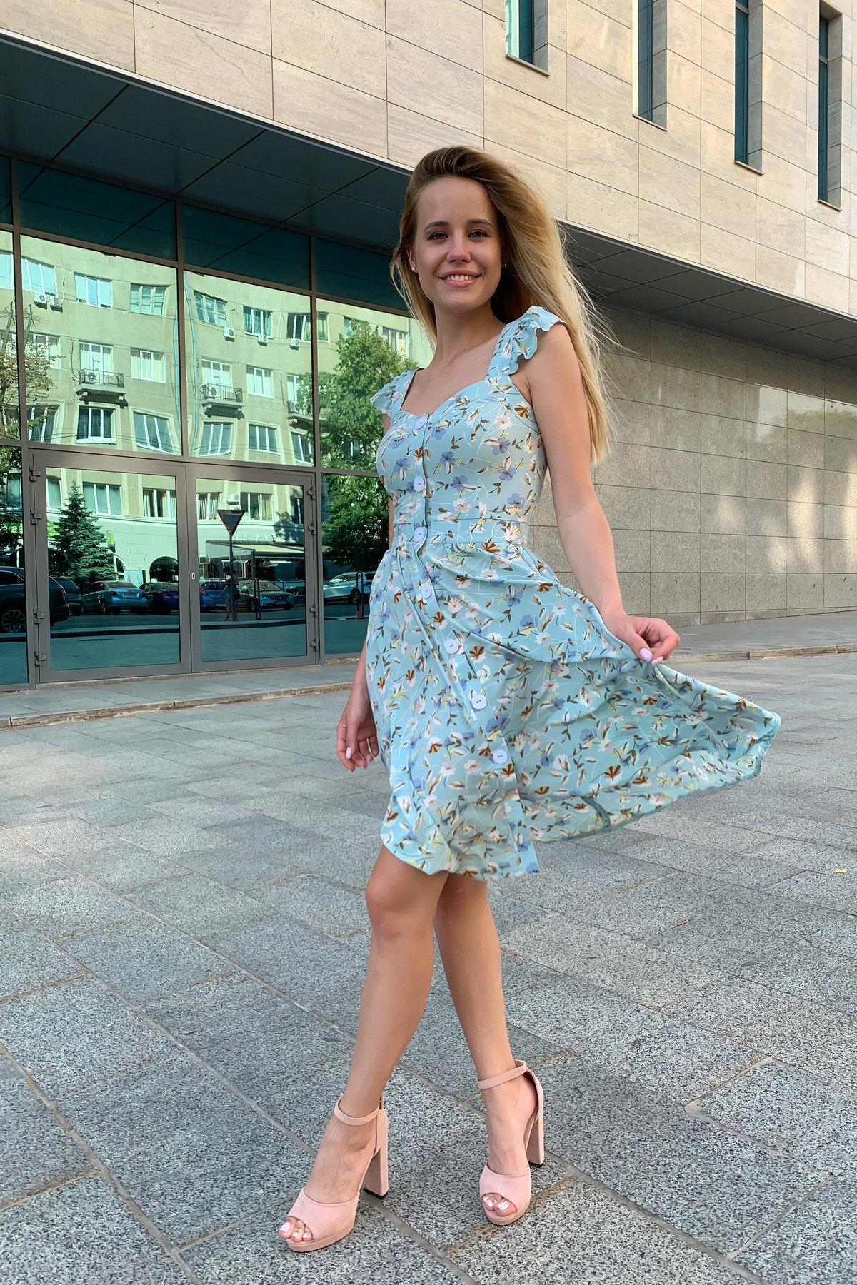 Платье Ундина 9404 АРТ. 45758 Цвет: цветы мел мята/молоко - фото 2, интернет магазин tm-modus.ru