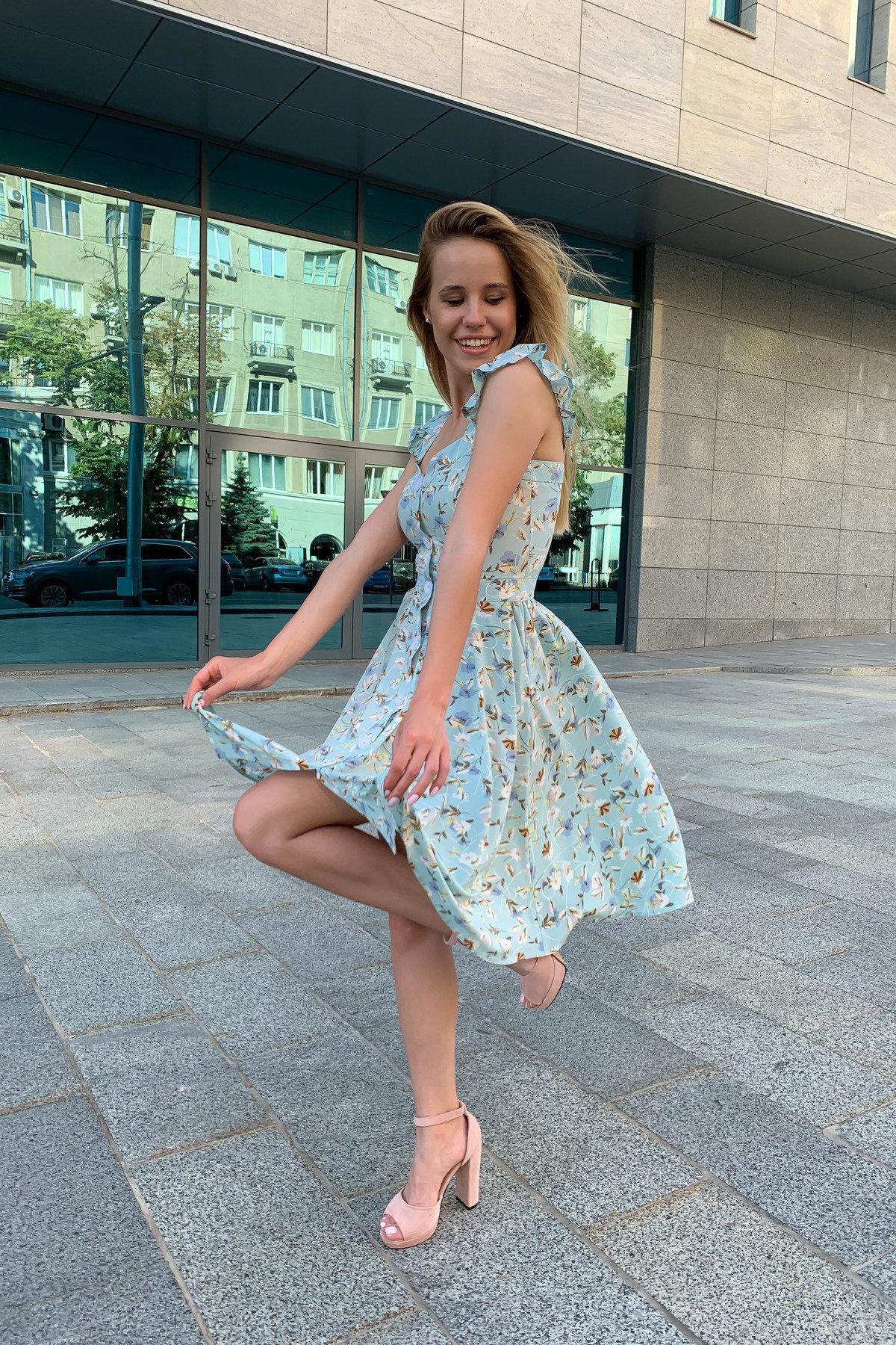 Платье Ундина 9404 АРТ. 45758 Цвет: цветы мел мята/молоко - фото 5, интернет магазин tm-modus.ru