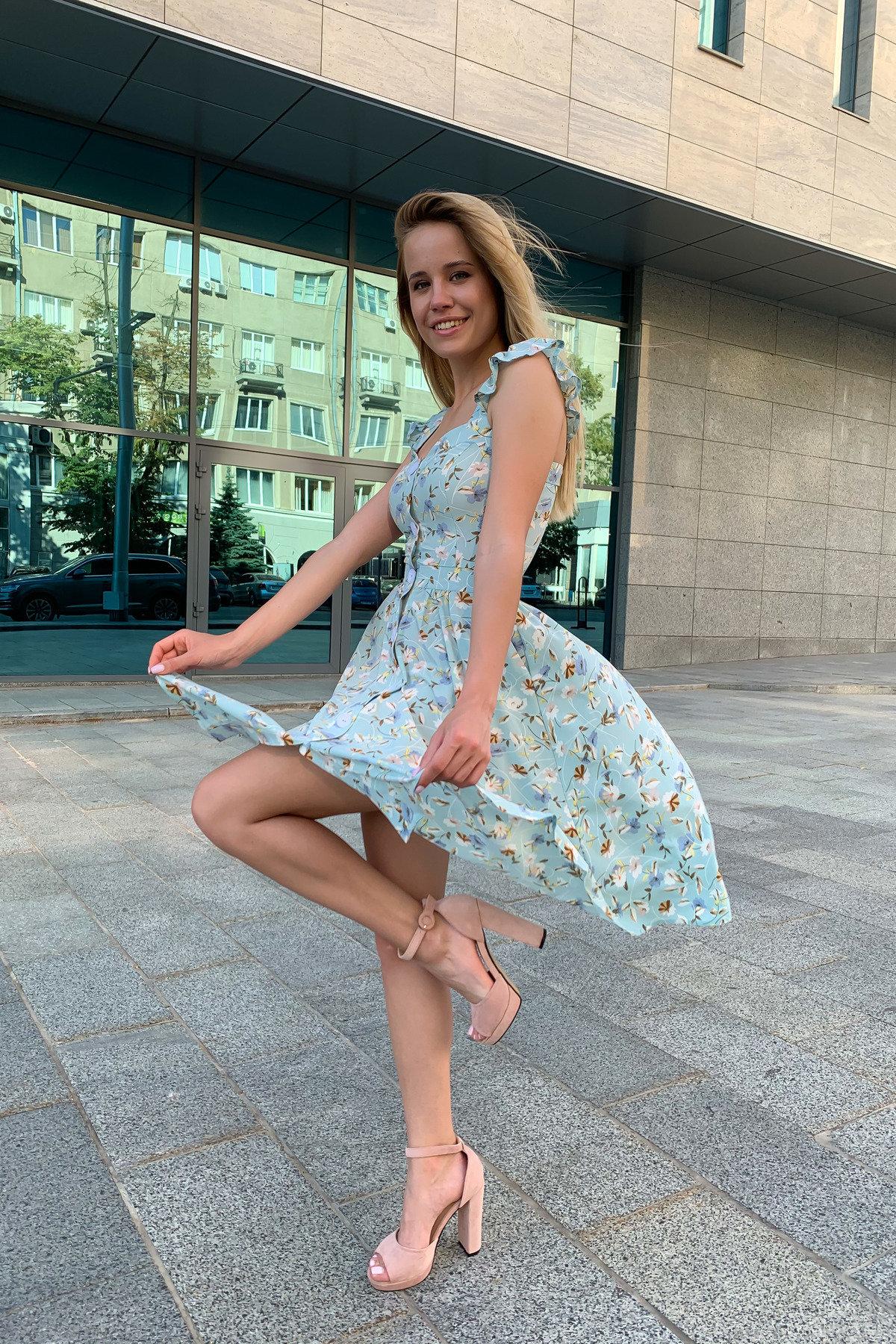 Платье Ундина 9404 АРТ. 45758 Цвет: цветы мел мята/молоко - фото 6, интернет магазин tm-modus.ru