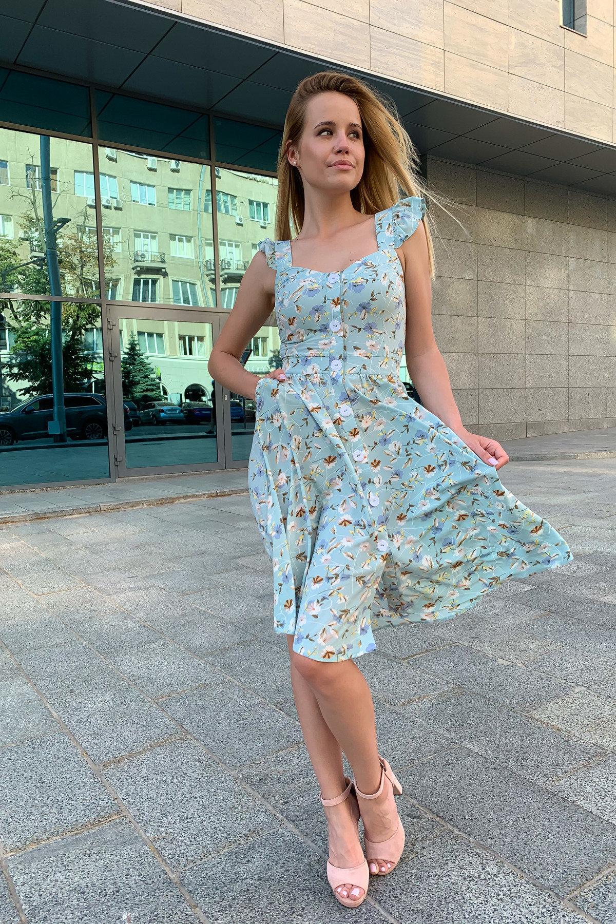 Платье Ундина 9404 АРТ. 45758 Цвет: цветы мел мята/молоко - фото 7, интернет магазин tm-modus.ru