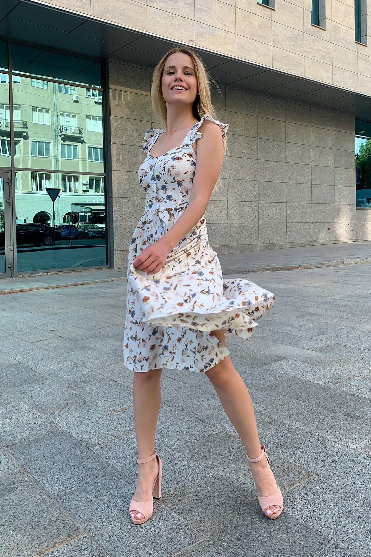 Платье Ундина 9404 АРТ. 45757 Цвет: цветы мел молоко/беж - фото 3, интернет магазин tm-modus.ru