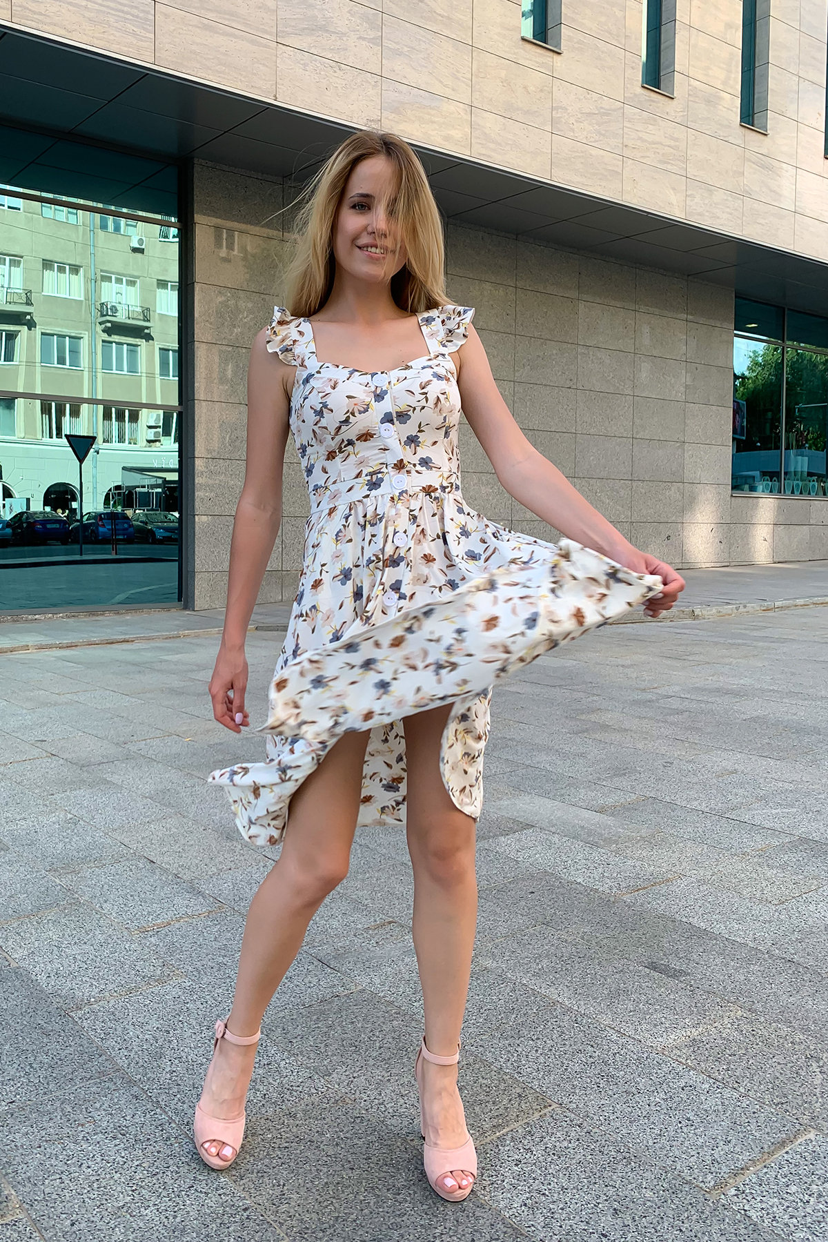Платье Ундина 9404 АРТ. 45757 Цвет: цветы мел молоко/беж - фото 4, интернет магазин tm-modus.ru
