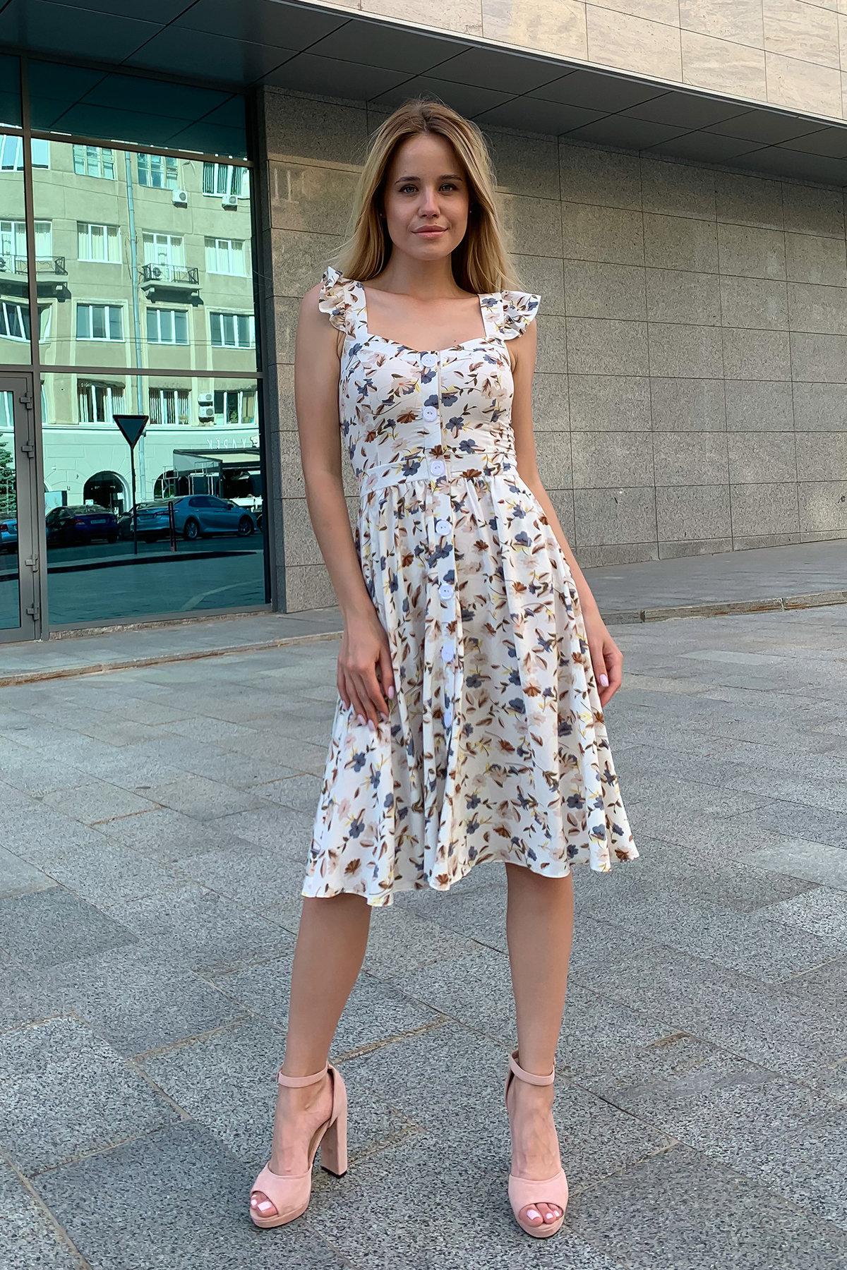 Платье Ундина 9404 АРТ. 45757 Цвет: цветы мел молоко/беж - фото 6, интернет магазин tm-modus.ru
