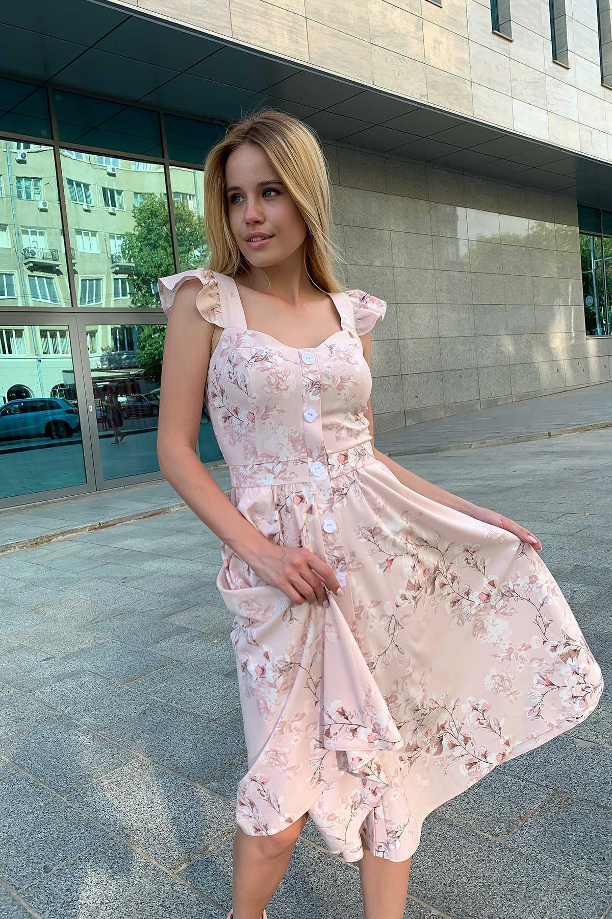 Платье Ундина 9404 Цвет: Цветы комби пудра/молоко
