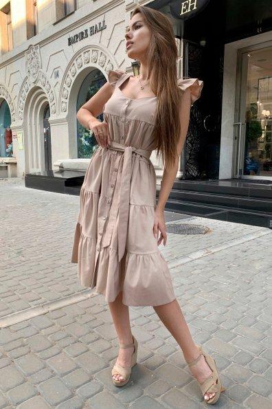 Купить Соло миди лен не стрейч платье 9465 оптом и в розницу