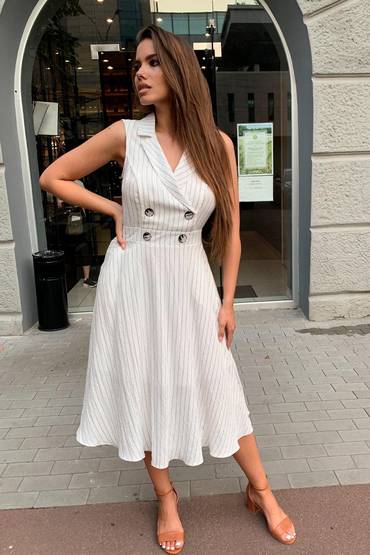 Платье Силена 7473 Цвет: Полоска черн/молоко
