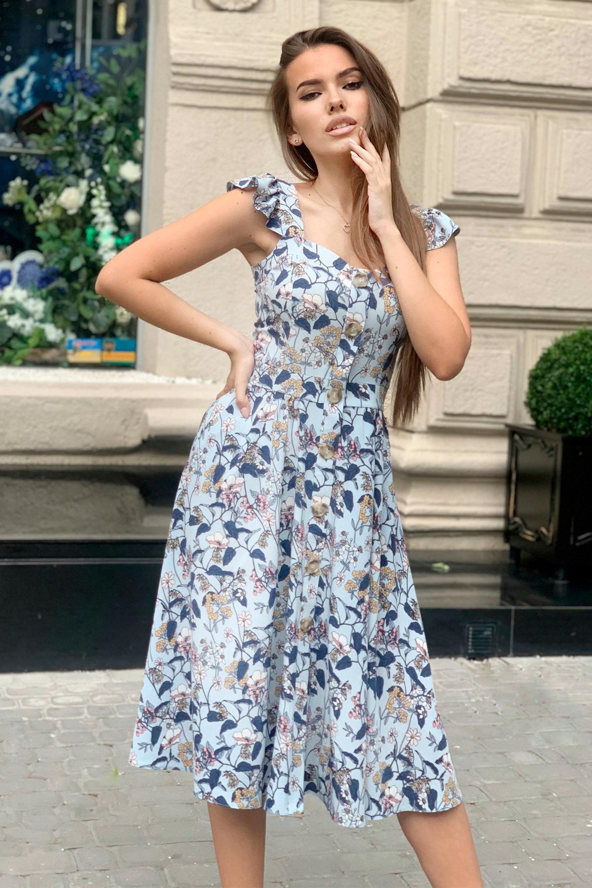 Платье Ундина 9404 АРТ. 45801 Цвет: Абстракция цветы/голубой - фото 5, интернет магазин tm-modus.ru