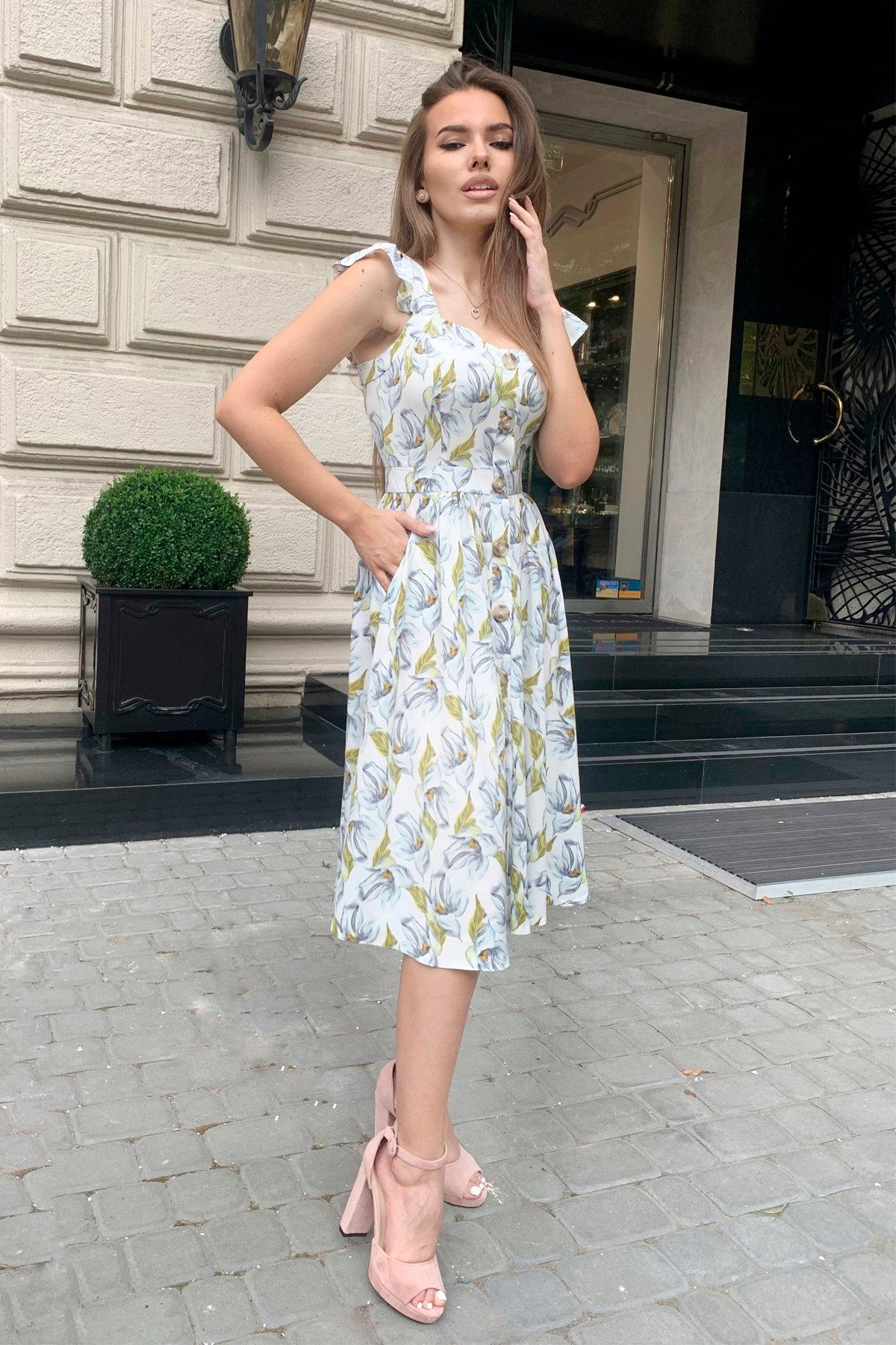 Платье Ундина 9404 АРТ. 45800 Цвет: Цветы голубой/молоко - фото 4, интернет магазин tm-modus.ru