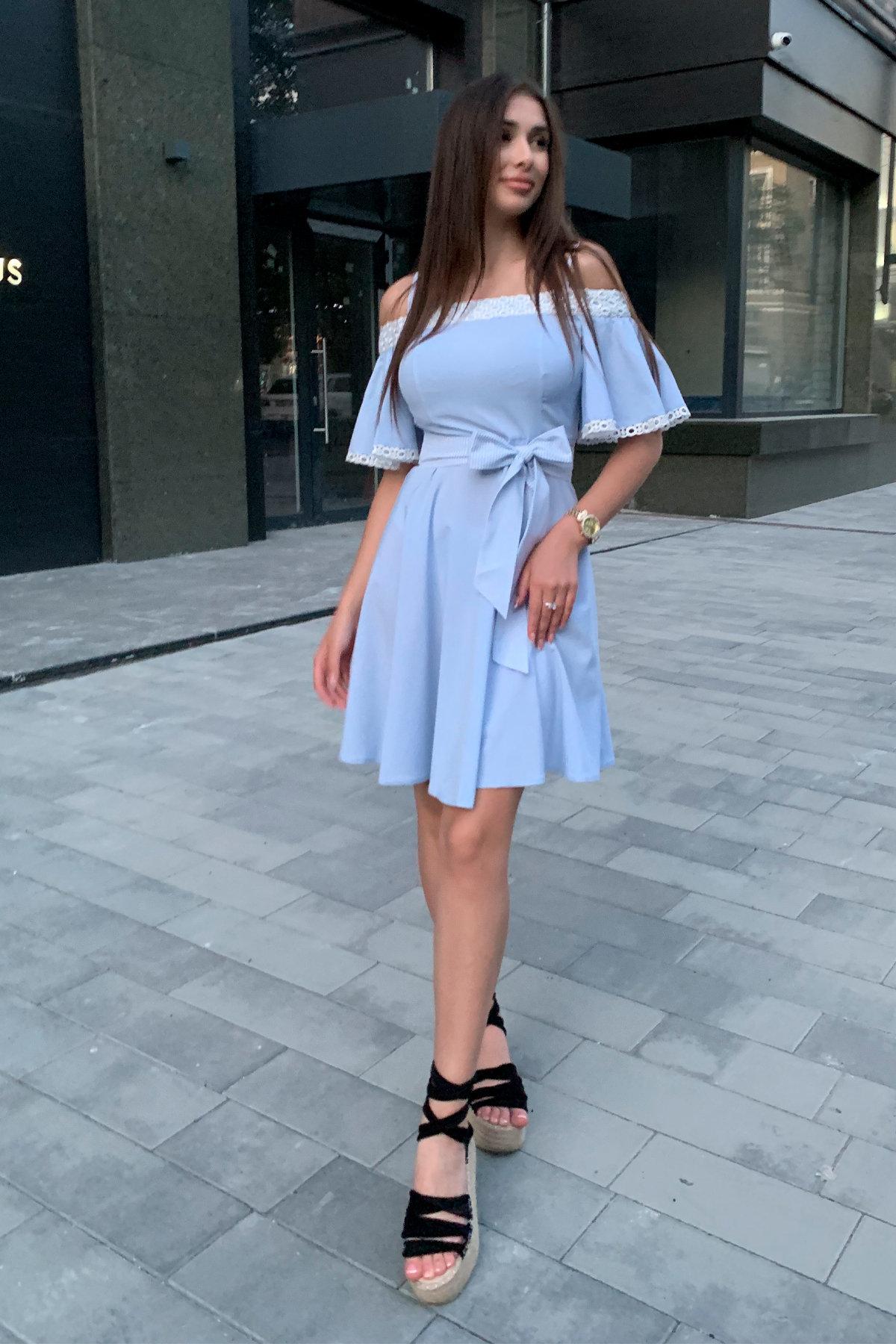 Платье Виолетта 4984 АРТ. 36119 Цвет: Голубой/молоко горох 1 - фото 2, интернет магазин tm-modus.ru
