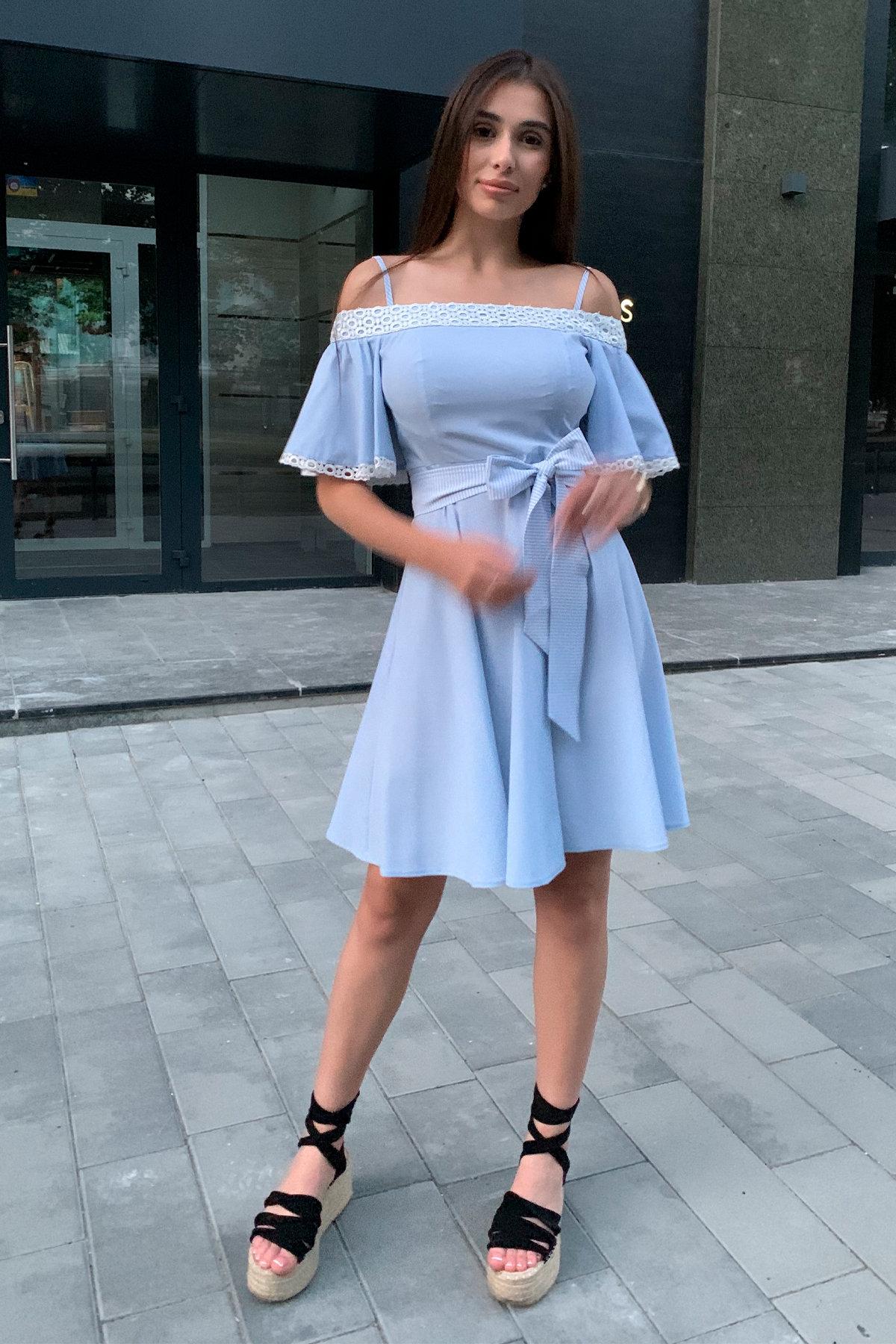 Платье Виолетта 4984 АРТ. 36119 Цвет: Голубой/молоко горох 1 - фото 7, интернет магазин tm-modus.ru