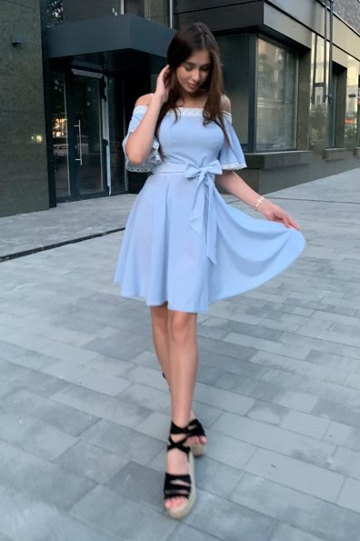 Платье Виолетта 4984 Цвет: Голубой/молоко горох 1