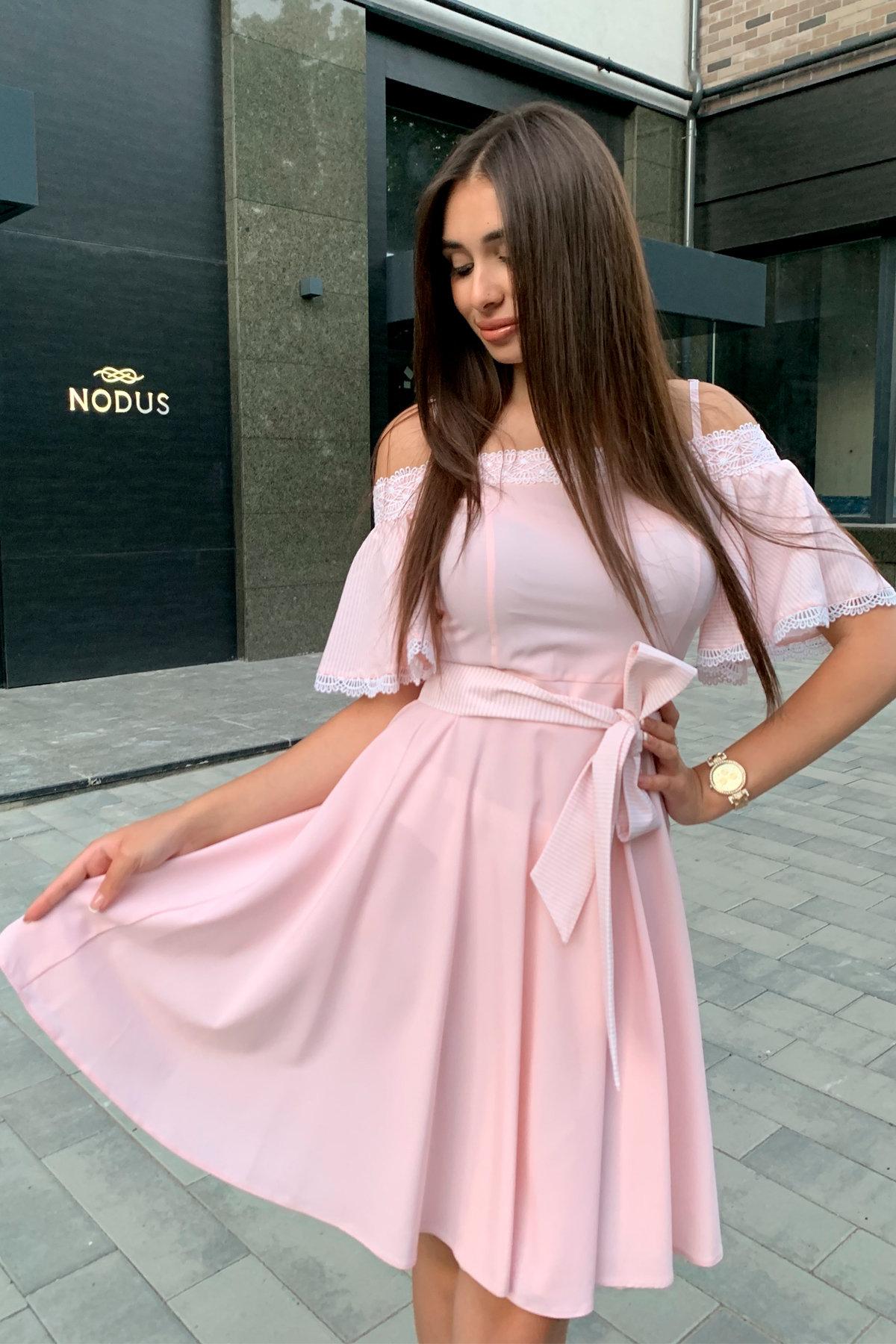 Платье Виолетта 4984 АРТ. 36124 Цвет: Пудра/молоко полоска 1 - фото 3, интернет магазин tm-modus.ru