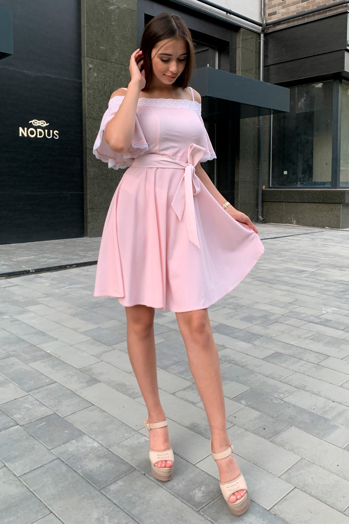Платье Виолетта 4984 АРТ. 36124 Цвет: Пудра/молоко полоска 1 - фото 6, интернет магазин tm-modus.ru