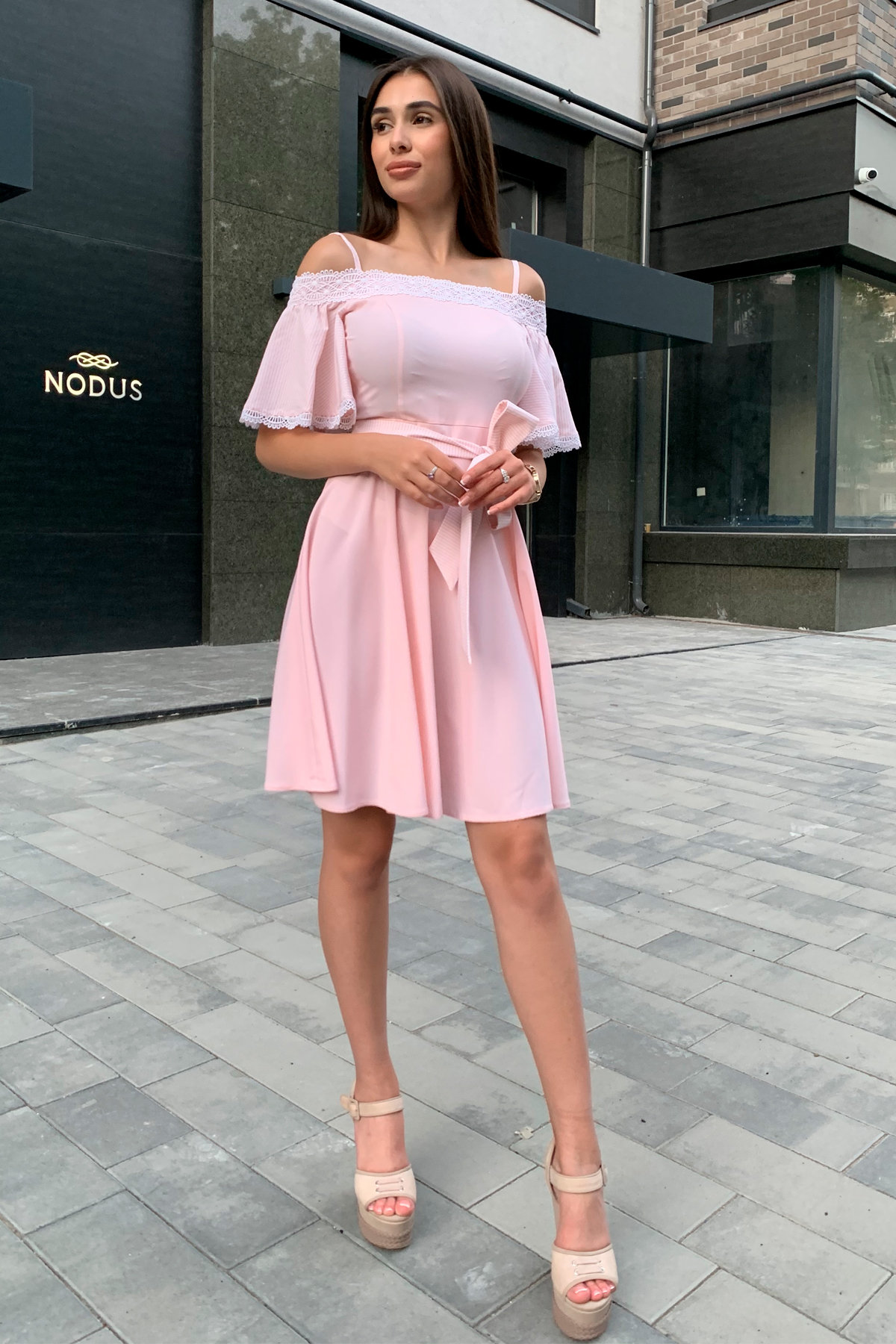 Платье Виолетта 4984 АРТ. 36124 Цвет: Пудра/молоко полоска 1 - фото 7, интернет магазин tm-modus.ru