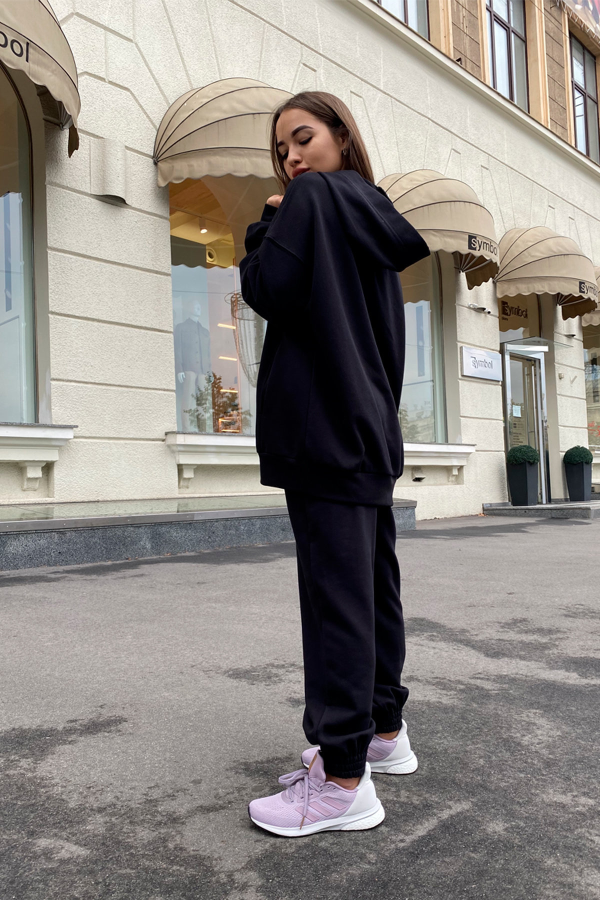 Марион Oversize трикотаж 3х нитка костюм 9533 АРТ. 45903 Цвет: Черный - фото 2, интернет магазин tm-modus.ru